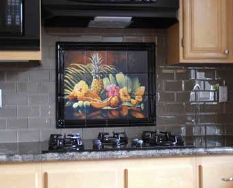 This gorgeous kitchen backsplash project is complete with this lively fruit tile  mural.