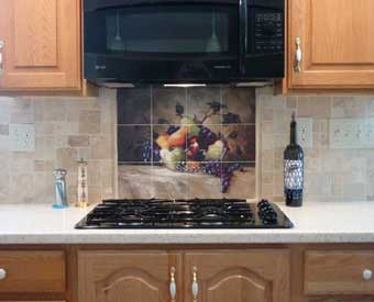 This fruit tile mural scene is perfect for a kitchen backsplash.