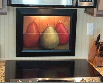 This gorgeous kitchen backsplash project is complete with this fruit tile mural.