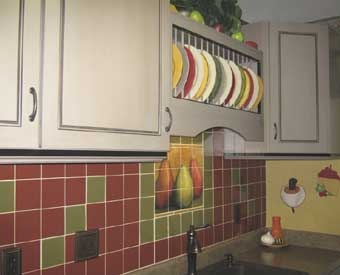 This fruit tile mural is perfect for a kitchen backsplash.