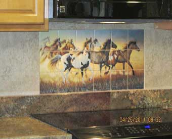 This gorgeous kitchen backsplash project is complete with this beautiful horse tile  mural.