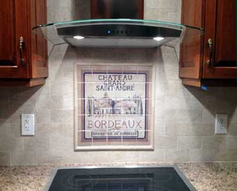This wine tile mural scene is perfect for a kitchen backsplash.