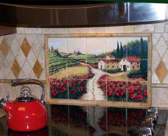This Tuscan tile mural scene is perfect for a kitchen backsplash.