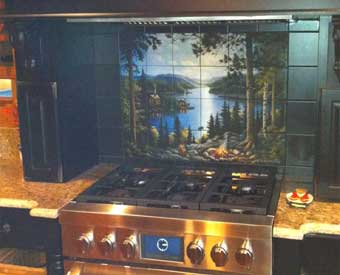 This woodland tile mural scene is perfect for a kitchen backsplash.