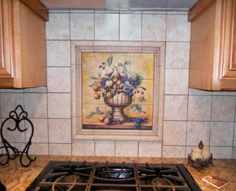 This fruit bowl tile mural scene is perfect for a kitchen backsplash.
