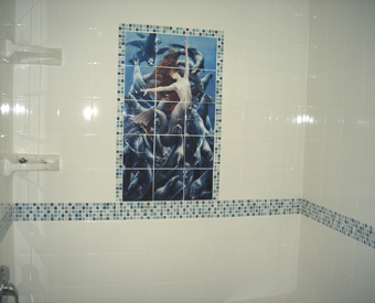 Our beautiful mermaid tile mural made from an original painting by  Sheila Wolk is extraordinary! This image of a beautiful mermaid tile mural shows you how you can add color to the rest of your space by  using unique mosaic tiles. Great job on this one - It is beautiful!