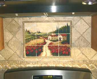 You can bring a touch of tuscan  landscape to your kitchen tile project with this magnificent tile mural of a field of red poppies. This tile mural was made on Rialto porcelain stone textured tiles with a matte finish and matched up with a  natural stone field tile. Notice the small mosaic border used just below the mural. Gorgeous installation!