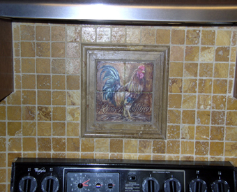 The border this client used around this rooster tile mural is fabulous!  Love the small field tiles they used too. All the colors of this kitchen backsplash blend beautifully!