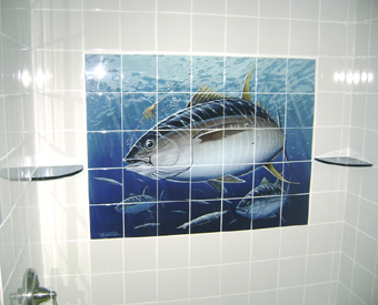 Using a large tile mural in the bathroom  is a great idea for any bathroom remodeling project. Look how the deep blues really stand out against the light colored field tiles. Since the tile mural nearly covers wall to wall - it is extraordinary!