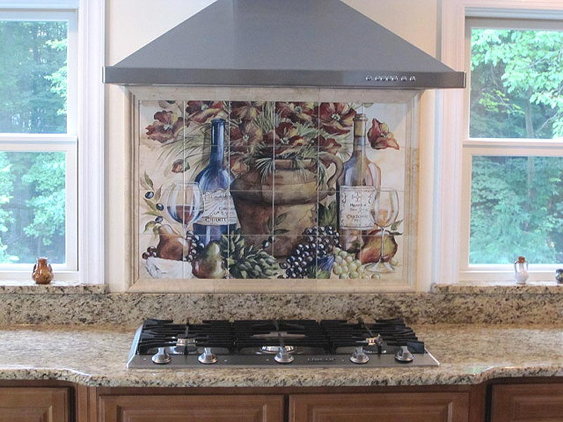 Kitchen backsplash ideas for Custom mural tiles
