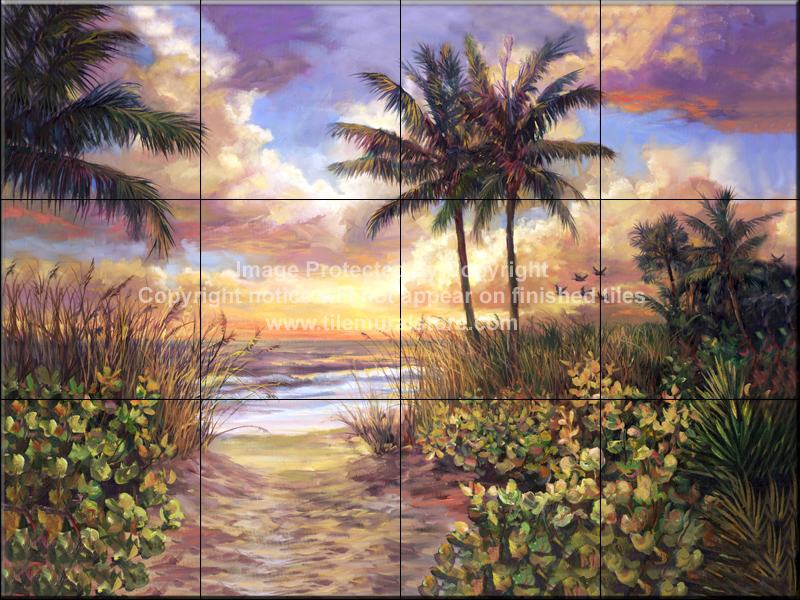 Backsplash designs beach scene tiles sunset tile mural for Beach sunset mural