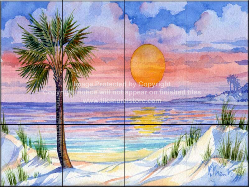 Backsplash designs beach scene tiles sunset palm for Beach sunset mural