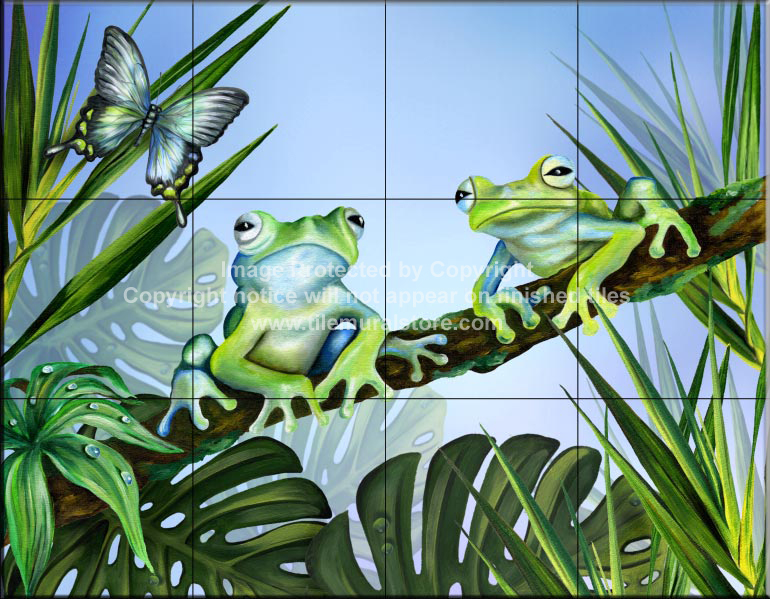 Bathroom Remodel Tiles With Frogs Two Blue Frogs