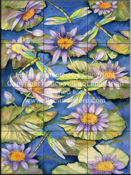 Bathroom remodel tiles with frogs water lilies for Dragonfly mural