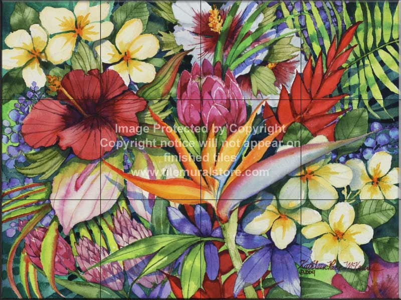 Ceramic Tile Designs Tropical Plant And Flower Tiles