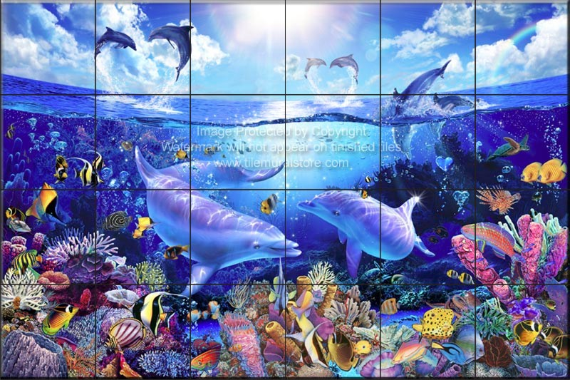 Dolphin and whale bathroom tile ideas day of the for Dolphin tile mural