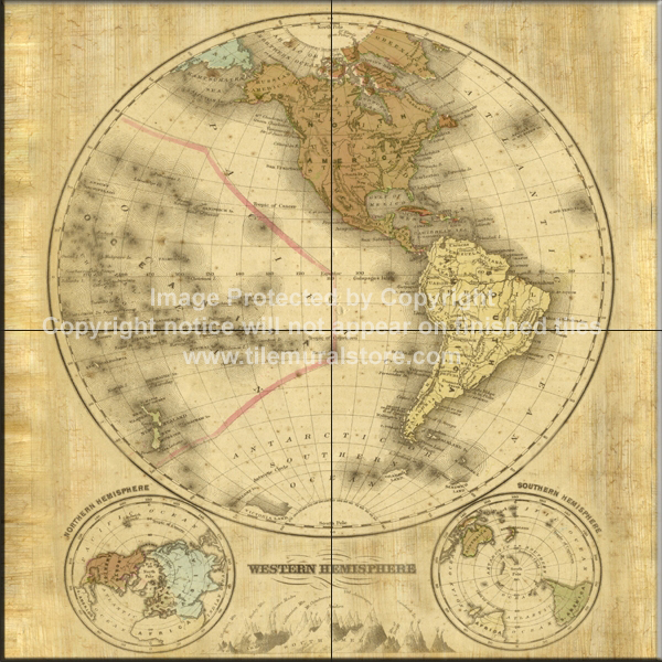 Tile ideas map tile designs terre orbis i b tile mural for Caldera mural orbis
