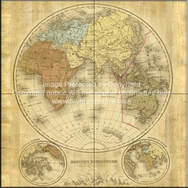 Tile ideas map tile designs terre orbis ii b tile mural for Caldera mural orbis