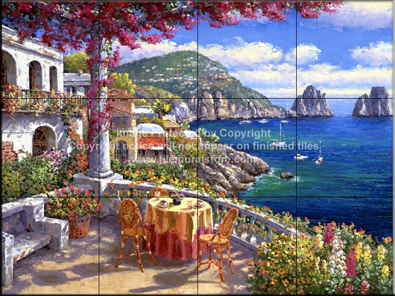Backsplash designs tuscan waterview tiles capri for Crossing the shallows tile mural