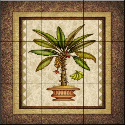 Ceramic tile designs tropical plant and flower tiles for Ceramic mural designs