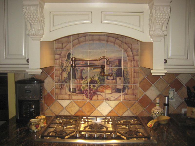 backsplashes italian tuscany backsplash tile murals tuscan wine tiles