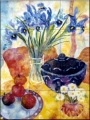 Irises and Dish Of Apples    - Tile Mural
