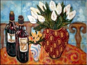 Wine and Tulips    - Tile Mural
