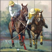 Polo Race for the Goal    - Tile Mural