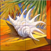 White Conch    - Tile Mural