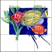 PB- Clown Surgeon Fish    - Tile Mural
