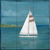 Square Sailboat    - Tile Mural