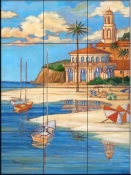 Mediterranean Beach Club 2    - Tile Mural