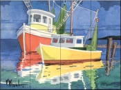 Fishing Boats at Dock    - Tile Mural