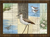 Patchwork Sandpipers    - Tile Mural
