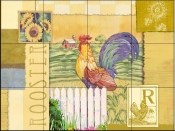 Rooster Collage    - Tile Mural