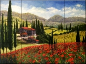 Tuscan Poppies    - Tile Mural