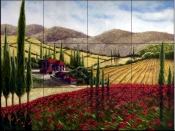 Tuscan Poppies II    - Tile Mural