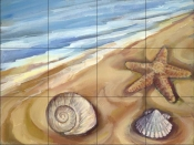 Shells in the Sand    - Tile Mural