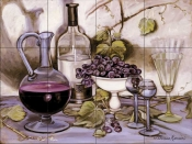 Wine Decanter and Glass    - Tile Mural