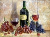 Wine and Grapes    - Tile Mural