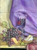 Red Grapes and Cheese    - Tile Mural