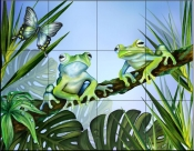 Two Blue Frogs    - Tile Mural