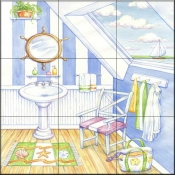 Nautical Bath II    - Tile Mural