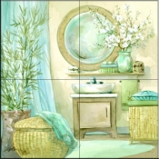 Tropical Bath I    - Tile Mural