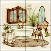 Antique Bath I    - Tile Mural