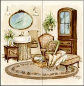 Antique Bath II    - Tile Mural