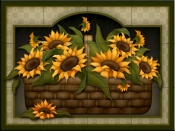Sunflower Basket   - Tile Mural