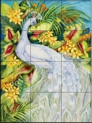 White Peacock   - Tile Mural