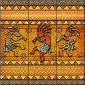3 Kokopellies   - Tile Mural