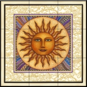 Celestial Sun with Frame   - Tile Mural